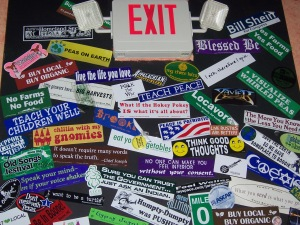 A collage of bumper stickers in Great Barrington, Mass.