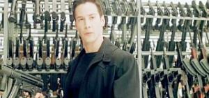 "Maybe we don't need guns, lots of guns.  Image from ""The Matrix."""