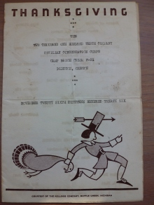 My Dad's Menu from Thanksgiving, 1936