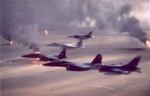 A common sight: American warplanes over a burning Iraq
