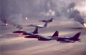 A common sight: American warplanes over a burning Iraq