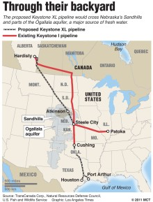 Keystone XL pipeline route planned through central United States