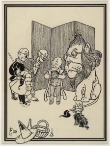 Dorothy, the Tin Man, the Scarecrow, and the Cowardly Lion (not to mention Toto) discover the wrinkled, shrunken fraud who had managed to intimidate them and everyone else with loud noises from behind a screen. Original drawing by W. W. Denslow