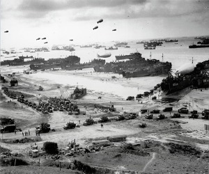 Omaha Beach at Normandy after the initial landings