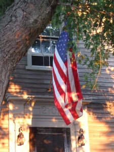 Old Glory as the sun sets