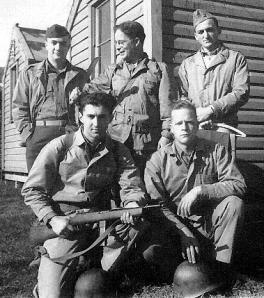 San Diego September 1942. Top Row: Capt. Don E. Farkas, Dr. Agar, Lt. Gilbert.  Bottom Row: Lt. Govedare holding Reising SMG and Lt. Bonnyman. Courtesy of the Farkas family