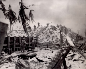 Bonnyman led the assault on this Japanese bunker at Tarawa.  The arrow may (or may not) point to him