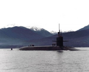 An Ohio-Class Submarine, armed with Trident nuclear missiles