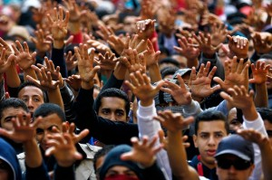 Egyptian Students Protesting the Decision to Exonerate Mubarak of Murder