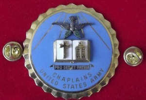An older symbol of the Chaplain Corps that includes Christian and Jewish symbols.  There are now Buddhist, Hindu, and Muslim symbols as well