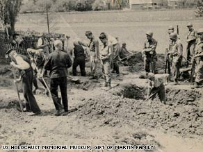 A mass grave for Allied POWs at Berga concentration camp (US Holocaust Memorial Museum)