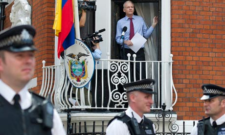 Julian Assange speaks from Ecuador's Embassy in London