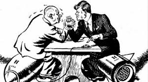 Kennedy arm wrestles Khruschev