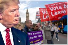"Leave supporters hold banners and flags as they stand on Westminster Bridge during an EU referendum campaign stunt in which a flotilla of boats supporting ""Leave"" sailed up the River Thames outside the Houses of Parliament in London, Wednesday, June 15, 2016. A flotilla of boats protesting EU fishing polices has sailed up the River Thames to the Houses of Parliament as part of a campaign backing Britain's exit from the European Union. The flotilla was greeted by boats carrying ""remain"" supporters. (AP Photo/Matt Dunham)"